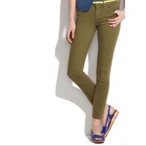 J. Crew khaki olive green toothpick ankle jeans